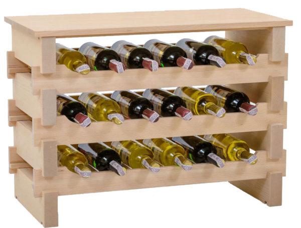 Stojak na wino -18 butelek drewno bukowe + blat
