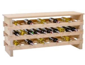 Stojak na wino -30 butelek drewno bukowe + blat