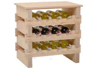 Stojak na wino -12 butelek drewno bukowe + blat